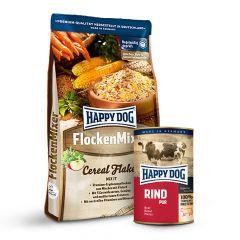 Happy Dog - Vorteilspaket Flockenmixer 10kg + Nassfutter 6 x 400g