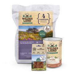Wildes Land - Premiumpaket Trockenfutter 4kg + Nassfutter 6 x 400g + Fleischwürfel 100g
