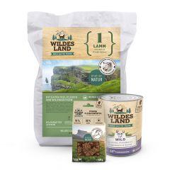 Wildes Land - Premiumpaket Trockenfutter 4kg + Nassfutter 6 x 800g + Fleischwürfel 100g