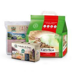 Cat's Best - Katzenstreu - Mixpaket Öko Plus 5l + Wildes Land Pouch Probierbox 12 x 100g + Trockenfutter 1,2 kg