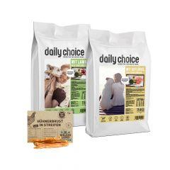 daily choice - Hundefutter - Premium Paket mit 2 x 15kg Trockenfutter + Wildes Land Snack