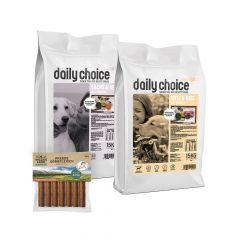 daily choice - Hundefutter - Premium Paket Sensitiv mit 2 x 15kg Trockenfutter + Wildes Land Snack