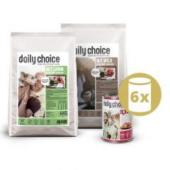 daily choice - Hundefutter - Premium Paket 2 x 4kg + Nassfutter 6 x 400g
