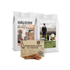 daily choice - Hundefutter - Probierpaket mit 2 x 1,5kg Trockenfutter + Wildes Land Snack 70g