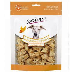 Dokas - Hundesnack - Hühnerbrust-Würfel mit Süßkartoffel, Leinsamen & Kokosöl (getreidefrei)
