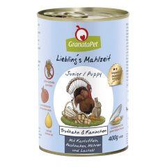 GranataPet - Nassfutter - Liebling's Mahlzeit Puppy/Junior Truthahn & Kaninchen (getreidefrei)