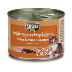 grau - Nassfutter - Schlemmertöpfchen Huhn mit Putenherzen 6 x 200g (getreidefrei)