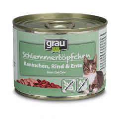 grau - Nassfutter - Schlemmertöpfchen Kaninchen, Rind und Ente 6 x 200g (getreidefrei)