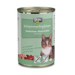 grau - Nassfutter - Schlemmertöpfchen Kaninchen, Rind und Ente 6 x 400g (getreidefrei)