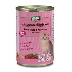 grau - Nassfutter - Schlemmertöpfchen Kittenmenü mit Rind, Pute & Karotten 6 x 400g (getreidefrei)