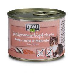 grau - Nassfutter - Schlemmertöpfchen Pute, Lachs und Makrele 6 x 200g (getreidefrei)