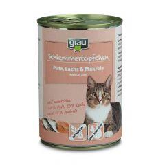 grau - Nassfutter - Schlemmertöpfchen Pute, Lachs und Makrele (getreidefrei)