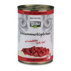 grau - Nassfutter - Schlemmertöpfchen Rind mit Vollkornreis