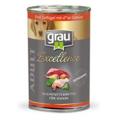 grau - Nassfutter - Excellence Adult Rind, Geflügel & Gemüse 6 x 400g (getreidefrei)