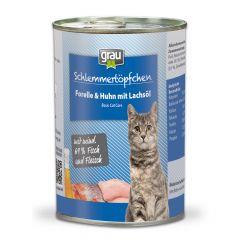 grau - Nassfutter - Schlemmertöpfchen Forelle & Huhn mit Lachsöl 6 x 400g (getreidefrei)