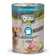 grau - Nassfutter - Schlemmertopf mit Kalb, Huhn & Vollkornreis 6 x 400g