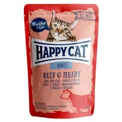Happy Cat - Nassfutter - All Meat Adult Rind & Herz Pouches