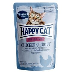 Happy Cat - Nassfutter - All Meat Adult Sterilised Huhn & Forelle Pouches