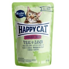 Happy Cat - Nassfutter - All Meat Adult Sterilised Kalb & Lamm Pouches
