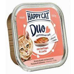 Happy Cat - Nassfutter - Duo Häppchen auf Paté Geflügel und Lachs