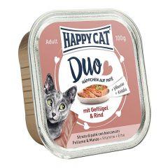 Happy Cat - Nassfutter - Duo Häppchen auf Paté Geflügel und Rind