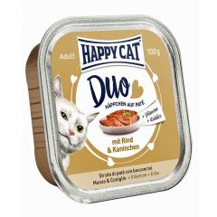 Happy Cat - Nassfutter - Duo Häppchen auf Paté Rind und Kaninchen