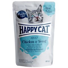 Happy Cat - Nassfutter - Meat in Sauce Adult Huhn & Forelle Pouches