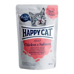 Happy Cat - Nassfutter - Meat in Sauce Adult Huhn & Lachs Pouches
