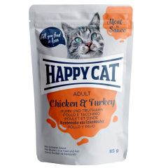 Happy Cat - Nassfutter - Meat in Sauce Adult Huhn & Truthahn Pouches