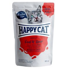 Happy Cat - Nassfutter - Meat in Sauce Adult Kalb & Leber Pouches