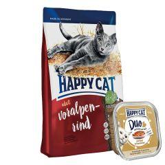 Happy Cat - Katzenfutter - Vorteilspaket Trockenfutter 1,4kg + Nassfutter 12 x 100g