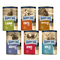 Happy Dog - Nassfutter - Fleisch Pur Probe-Paket (getreidefrei)