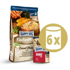 Happy Dog - Vorteilspaket Flockenmixer 10kg + Nassfutter 6 x 400g