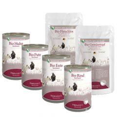 Herrmann's - Nassfutter - Bio Premium Paket mit Bio Flocken + Ergänzungsfutter + Fleisch pur 12 x 400g