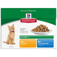 Hill's - Nassfutter - Science Plan Feline Adult Multipack Optimal Care mit Huhn, Seefisch & Rind