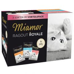 Miamor - Nassfutter - Ragout Royale in Jelly Multibox Pute, Kalb und Lachs
