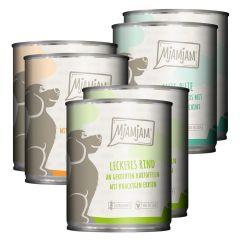 Mjamjam - Nassfutter - Mixpaket leckere Mahlzeiten Huhn, Rind und Pute (glutenfrei)