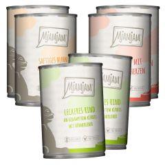 Mjamjam - Nassfutter - Mixpaket leckere Mahlzeiten Huhn, Rind und Herzen (getreidefrei)