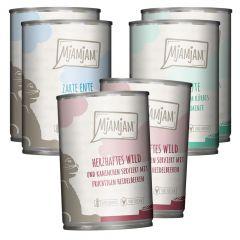 Mjamjam - Nassfutter - Mixpaket leckere Mahlzeiten Wild, Pute und Ente (getreidefrei)