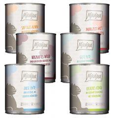Mjamjam - Nassfutter - Mixpaket leckere Mahlzeiten Wild, Pute, Ente, Herzen, Huhn und Rind (getreidefrei)