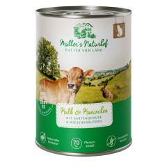 Müller's Naturhof - Nassfutter - Kalb & Kaninchen mit Gartengemüse & Wiesenkräutern (getreidefrei)