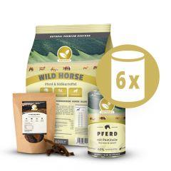Natural - Premium Paket Pferd Trockenfutter 1kg + Nassfutter 6 x 400g + Snack 150g