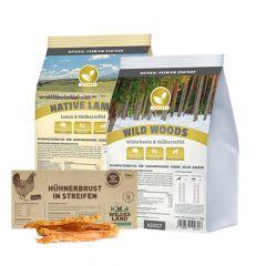 Natural - Trockenfutter - Premium Paket 2 x 1kg + Snack 70g (getreidefrei)