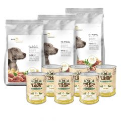 pets Premium - Trockenfutter - Premium Paket Soft Ente mit Kartoffeln, Erbsen und Brennnessel 3 x 5kg + Nassfutter 6 x 400g