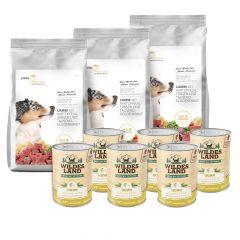 Pets Premium - Trockenfutter - Premium Paket Soft Lamm mit Kartoffeln, Erbsen und Tausendgüldenkraut 3 x 5kg + Nassfutter 6 x 400g