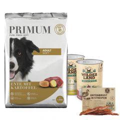 Primum - Hundefutter - Probe Paket mit 1,5kg Soft Trockenfutter und  2 x 400g Nassfutter + Snack 70g