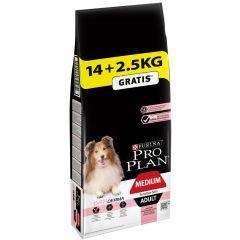 Pro Plan - Trockenfutter - Dog Medium Adult Sensitive Skin Optiderma reich an Lachs 14 + 2,5kg geschenkt