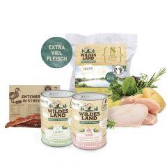 Wildes Land - Hundefutter - Welpen Probe Paket mit 1kg Trockenfutter + 2 x 400g Nassfutter + Snack 70g + Broschüre