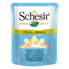 Schesir - Nassfutter - Brühe Huhn mit Seebarbe Pouch