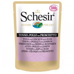 Schesir - Nassfutter - Jelly Thunfisch und Huhn mit Schinken Pouch